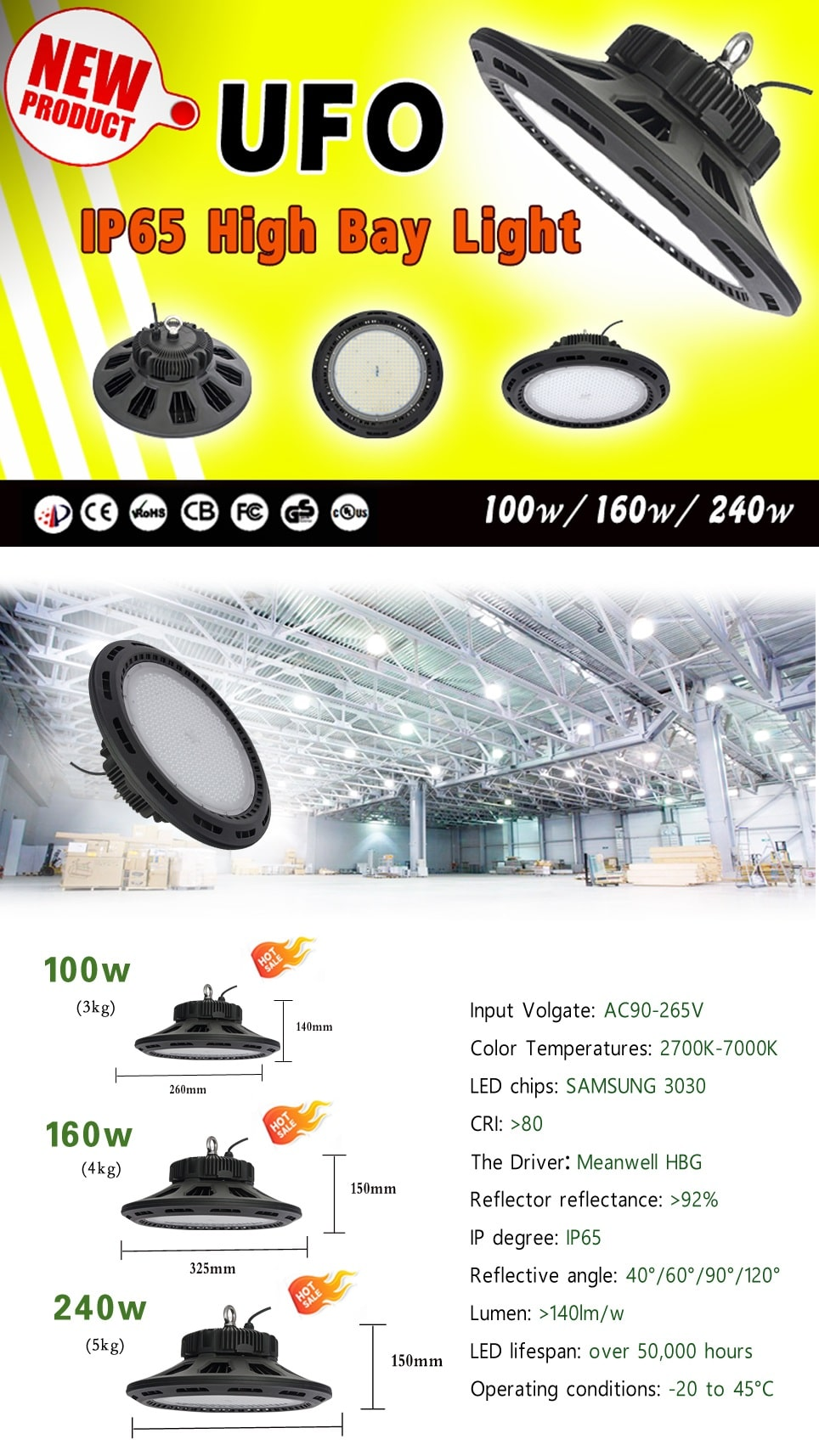 UFO LED high bay light 100w-240w (5)